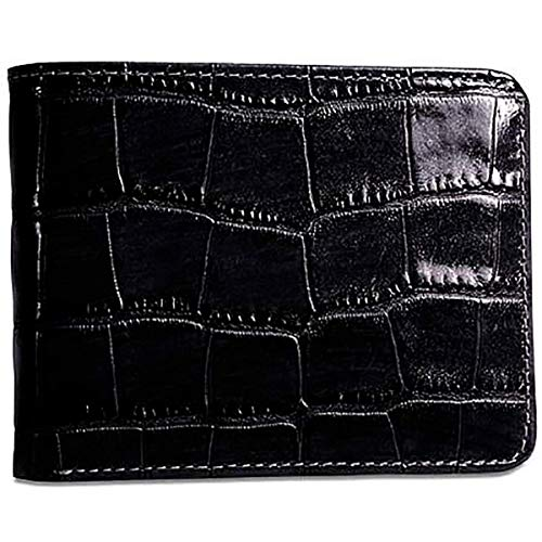 Jack Georges Mens [Personalized Initials Embossing] Croco Bifold Wallet in Black