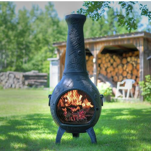 Blue Rooster Dragonfly Style Wood Burning Outdoor Metal Chiminea Fireplace Antique Green Color