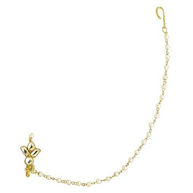 Buy Accessher Gold Brass Jadau Kundan Flower Shape Nose Pin For