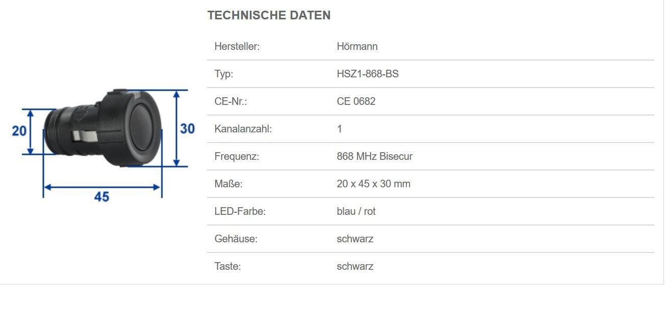 praktischer 1-Tasten-Garagentor/öffner 436779 Funkfernbedienung mit BiSecur-Funktechnik Art.-Nr H/örmann Handsender HSZ1 868-BS schwarz