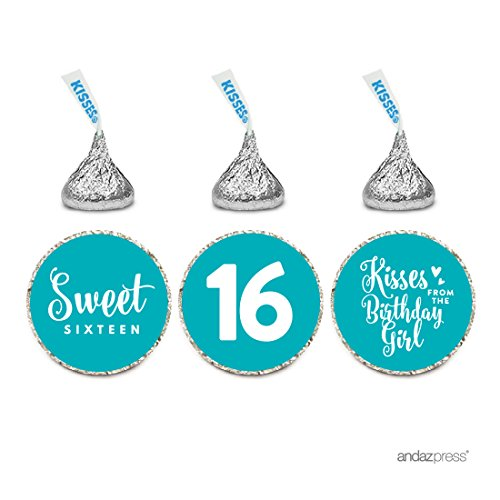 Andaz Press Chocolate Drop Labels Trio, Fits Hershey's Kisses, Sweet 16 Birthday, Aqua, 216-Pack (Drop Ship Gifts)