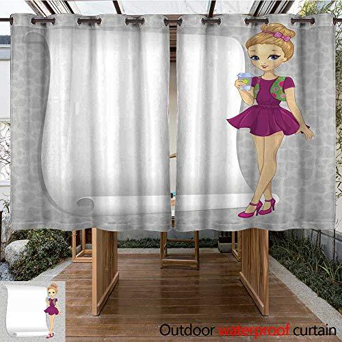 (RenteriaDecor Outdoor Balcony Privacy Curtain Fashion Gossip Girl with Banner W55 x L72)