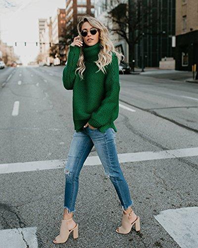 Alto Baggy Casual Elegante Maglieria Maglione Collo Top Maglione Pullover Invernali Vintage ShallGood Elegante Verde Jumper Sweater Lunghe Dolcevita Giuntura Donna tSqxWwA