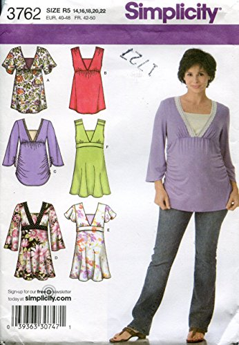 Simplicity Pattern 3762 Maternity Knit and Woven Tops, Size R5 (14-16-18-20-22) ()