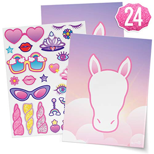 xo, Fetti Unicorn Party Sticker Craft Game for Kids - 24 Sheets | Birthday Party Supplies, Unicorn Favors Decorations, Toys + Halloween Costume