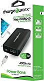 Charge Worx 4000mAh Power Bank with USB Port Rechargeable Battery Pack (Black)
