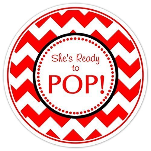 36 baby shower labels red chevron sheu0027s ready to pop stickers ready to pop