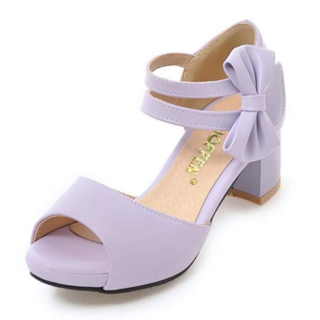 Purple MEIZOKEN Women's Chunky Heel Platform Sandal Peep Toe Mid Heels Bowknot Ankle Strap Pump Sandals