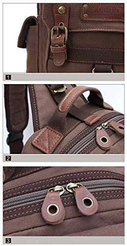 Simplebiz Canvas Leather Backpack Men Single Strap Backpack Shoulder Cross Body Bag Chest Bag Sling Backpack- Coffee