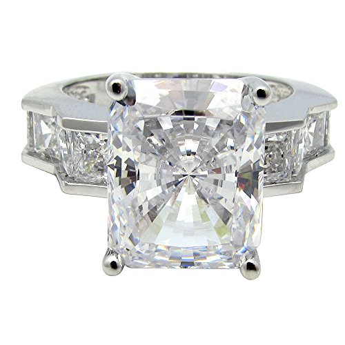SR32235 .925 Sterling Silver 7 carat total 6ct Radiant Center / Princess Cut Sides CZ Center Basket Set (Radiant Cut Center)