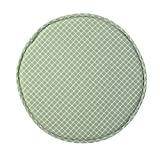 Fivtyily Round Bar Stool Covers Anti-slip Bar Stools Protector with Elastic Strap (Green Lattice)