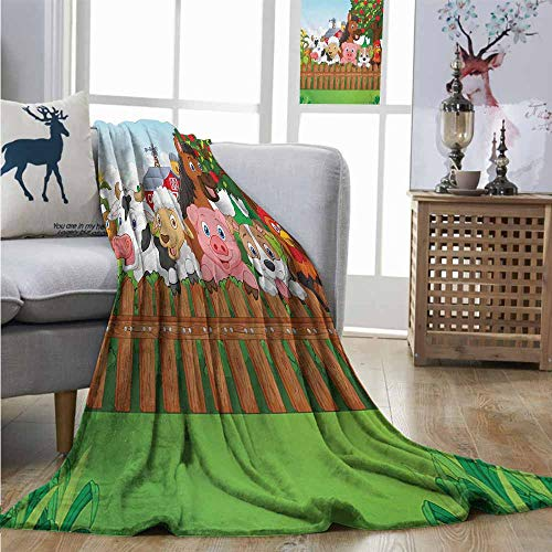 Lightweight Blanket Cartoon Collection Cute Farm Animals on Fence Comic Mascots with Dog Cow Horse Kids Design Blankets Queen Size W60 xL91 Multicolor