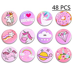 Geefuun Unicorn Pins Valentine's Day/Birthday Party Favors Decorations Girl Gift Badges Magical Rainbow Cards Supplies
