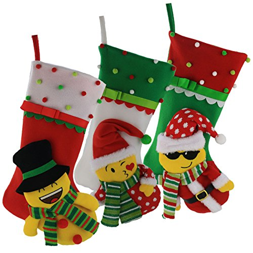 Cute Christmas Stockings - WEWILL Emoji 3D Design Christmas Stockings Cute Santa, Snowman, Set of 3 Pcs (Facial Character) 16.5 inch