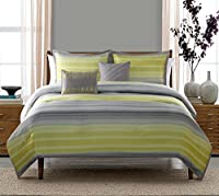 5 Pc Yellow, and Grey, Queen Size Bedding, Comforter Set, by Karalai Bedding (Queen)