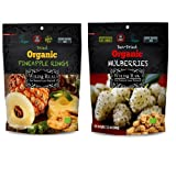 Wild & Raw Sun-Dried Organic Mulberries 3.5 ounces, Dried Organic Pineapple rings 3.5 ounces (2 Pack Bundle)
