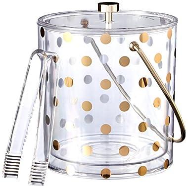 Kate Spade New York Raise a Glass Acrylic Ice Bucket, Gold Dots
