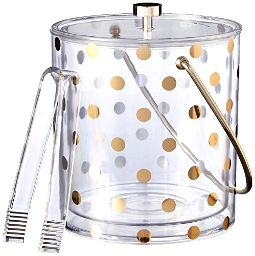 Kate Spade New York Raise a Glass Acrylic Ice Bucket, Gold Dots