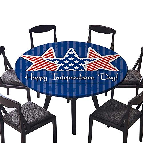 Youdeem-tablecloth Circular Table Cover Happy Independence Day Star Card in Vector Format. for Wedding Banquet 47.5