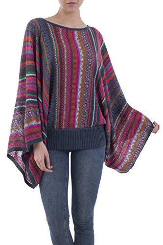NOVICA Multicolor Alpaca Wool Blend Striped Sweater, Fiesta of Color