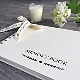 """Medium Luxury 8"""" x 6"""" Ivory Memory Book & Share Your Memories Sign Set for Funeral, Remembrance, Condolence, Celebration of Life - by Angel & Dove"""