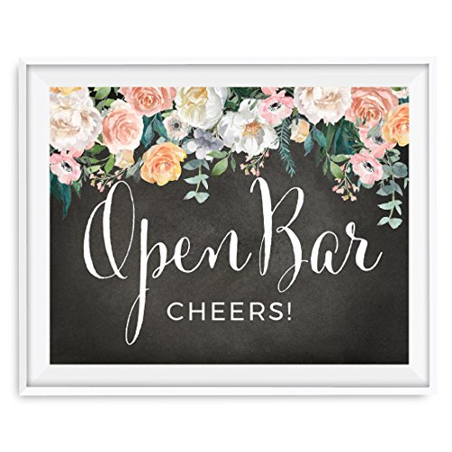 Andaz Press Peach Chalkboard Floral Garden Party Wedding Collection, Party Signs, Open Bar Cheers!, 8.5x11-inch, 1-Pack]()
