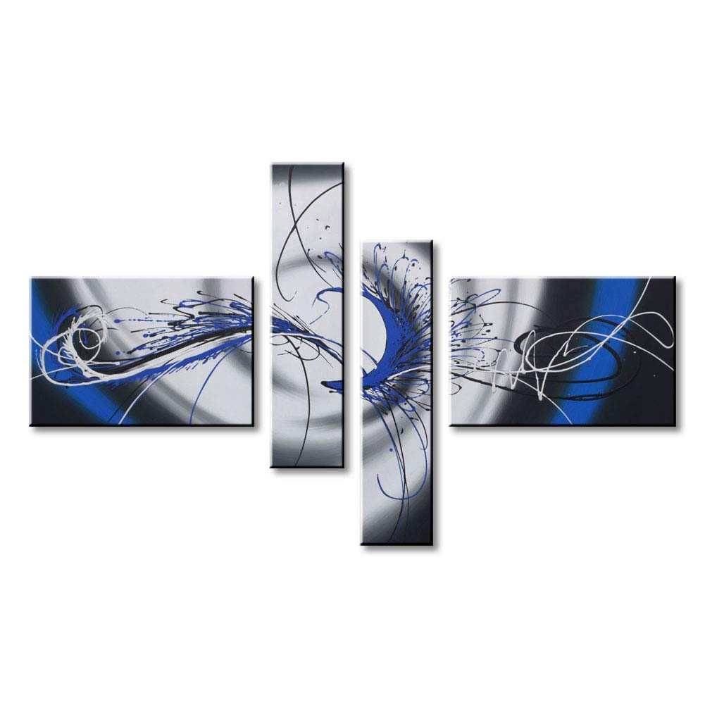 Handmade Huge Blue Abstract Canvas Wall Art Modern Oil Painting Large Artwork