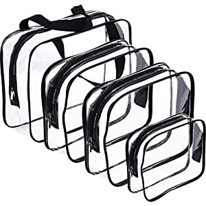 Hotop 4 Pieces Clear Make-up Bags Travel Toiletry Bag Organizers for Traveling, Business Trip and School, Water-proof (Black)