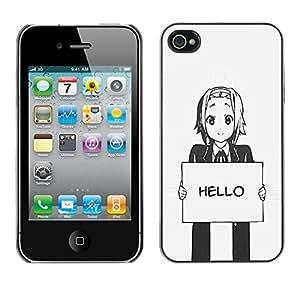 Be Good Phone Accessory // Dura Cáscara cubierta Protectora Caso Carcasa Funda de Protección para Apple Iphone 4 / 4S // Hello Grey Anime Japanese Cartoon Message