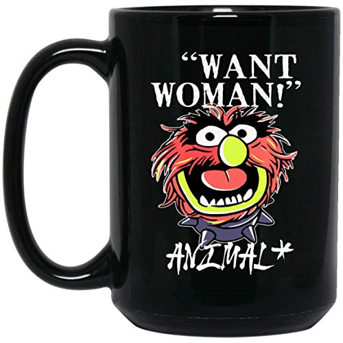 Want Woman The Muppets Show Animals One Side 15 oz. Black Mug ()