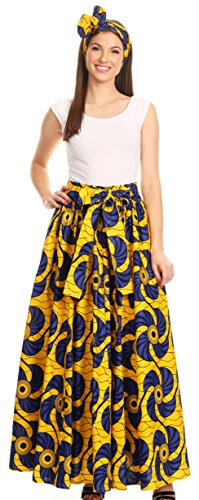 Convertible Traditional Wax Print Adjustable Strap Maxi Skirt | Dress - 417-blue/yellow-fan - OS ()