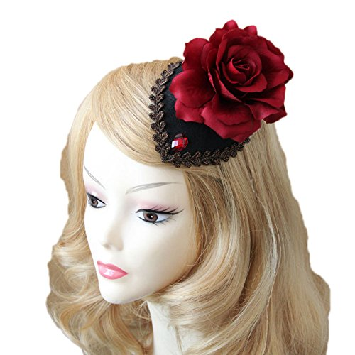 Vimans Women's Black Rose Mini Top Hat Beaded Cocktail Wedding Hair Clip Fascinator