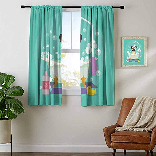(Mozenou Nursery, Sound Curtains Noise Reducing, Pug Dog in Bathtub Grooming Salon Service Shampoo Rubber Duck Pets in Cartoon Style Image, Curtains Kitchen Window, W72 x L63 Inch Teal)