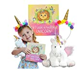 Unicorn Gift Set – Includes Book, Stuffed Plush Toy, and Headband for Girls