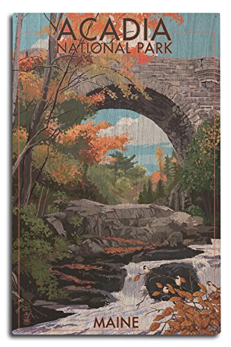 Lantern Press Acadia National Park, Maine - Stone Bridge (10x15 Wood Wall Sign, Wall Decor Ready to Hang)
