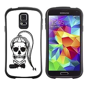 Paccase / Suave TPU GEL Caso Carcasa de Protección Funda para - Funny Ponytail Skull Girl Death White - Samsung Galaxy S5 SM-G900