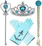 4 Pcs set Frozen Elsa Cosplay Tiara girl Hair Accessories set Crown Wig Wand and Gloves