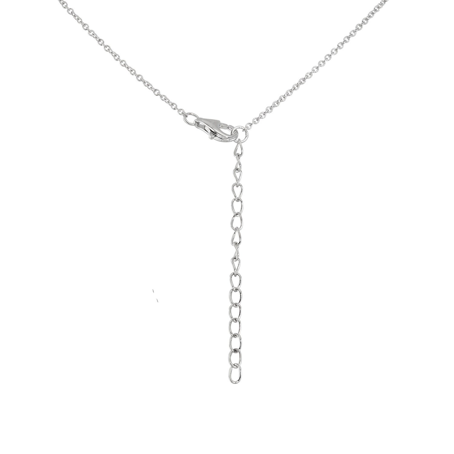 Sterling Silver 16 2 Extension CZ /& Cultured Freshwater Pearl Heart Necklace