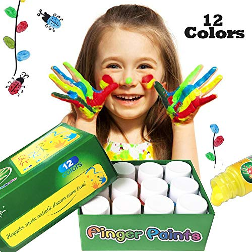 (Happlee 12 Colors Finger Paint for Kids Washable Paint Set for Toddlers Non-Toxic Kid's Fingerpaints Supplies 12x30ml(1.02 fl.oz))