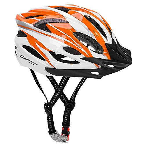 GIORO Ultralight Adult Cycling Bike Helmet for Men Women Specialized Road Urban Mountain Bicycle Safety Protection Certified with Removable Visor and Quick Release Adjustable Strap (Orange & White) (Adjustable Quick Strap)