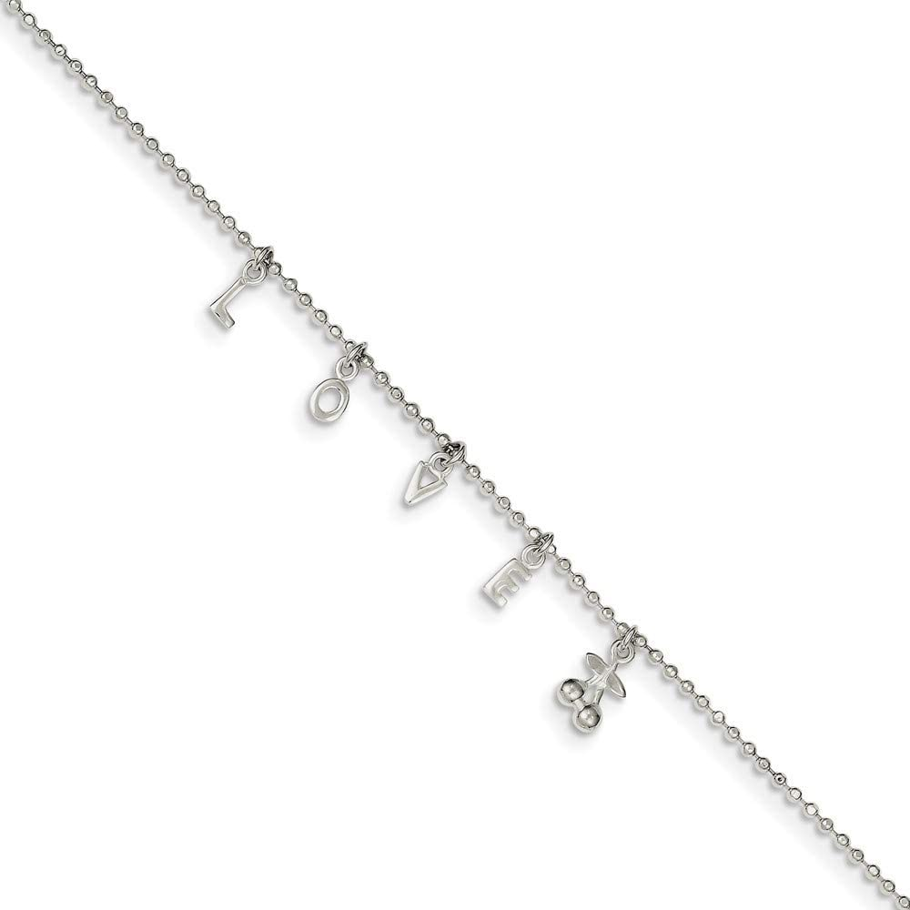 Roy Rose Jewelry Sterling Silver 10 with 1 extension Anklet 10 length