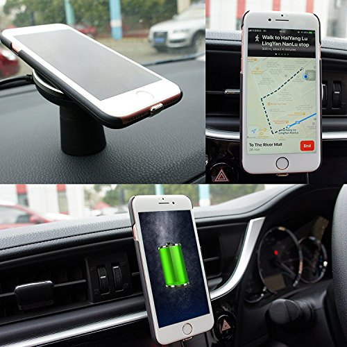 Camboss 2-in-1 Qi Wireless Car Charger with Suction Mount Holder and Air Vent Mount for Samsung Galaxy S8, S7/S7 Edge, Note 8 & Standard Charge for iPhone X, 8/8 Plus & Qi Enabled Devices by Camboss (Image #2)