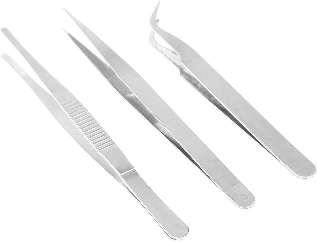 BESTONZON Pinzas de pinzas 3pcs Pinzas de pinza de acero inoxidable para manualidades y cocina (recta + curvada + embutida roma)