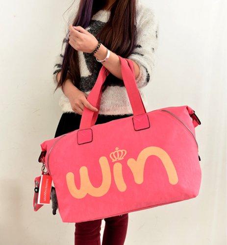 Big Mango Multipurpose Fashion Big Size Nylon Bag Single Shoulder Bag Handbag with Cute Pendant & MINI Bag and Win Letters & Crown Pattern Waterproof Bag (Pink)