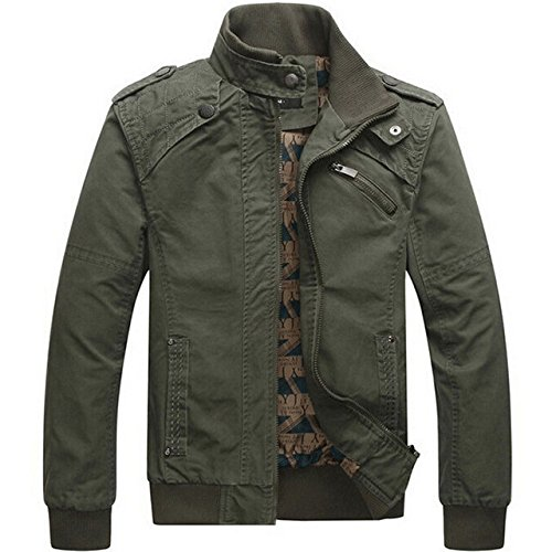 4e700efb3da World2home Men jacket Casual cotton washed coats Army Military Outdoors  Stand collar Outerwear jaqueta masculina Coat parka mens Jackets   Amazon.in  ...