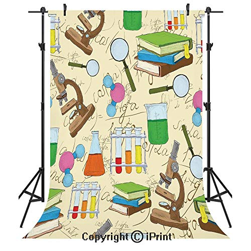 Kids Room Decor Photography Backdrops,Science Education Lab Sketch Books Equation Loupe Microscope Molecule Flask,Birthday Party Seamless Photo Studio Booth Background Banner 3x5ft,Multicolor ()