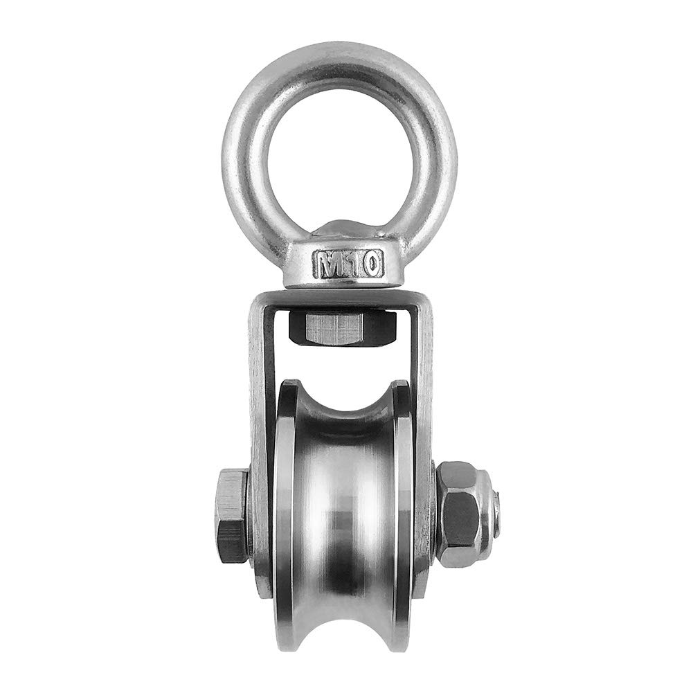 QWORK 304 Stainless Steel U-Shaped 16mm Double Bearing Ultra-Quiet Removable 360-degree Rotating Heavy Traction Wheel