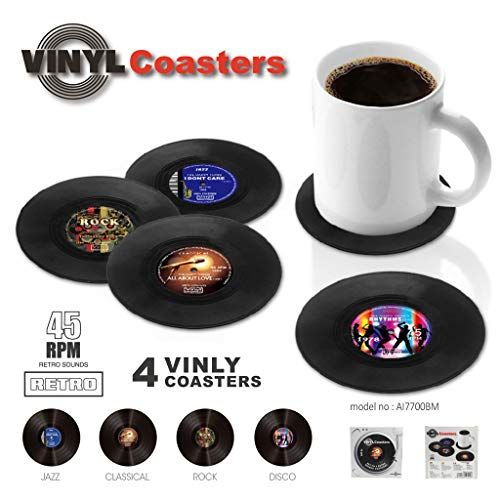 Price comparison product image Euone Clearance,  4PCS Coasters Creative Vinyl Coaster CD Record Cup Drinks Holder Mat Tableware Placemat