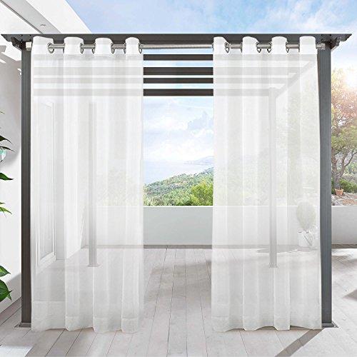 Cheap  LIFONDER Patio Sheer Curtain Panel - Indoor Outdoor White Sheer Panels Waterproof..