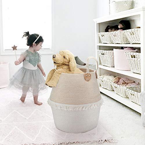 Tiss/é en Coton Grand 40x38cm Beige et Blanc La Jol/íe Muse Panier /à Linge Panier de Rangement pour Les Enfant et Stockage D/écoration de Maison